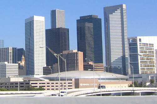 Toyota Center and Houston Cityscape