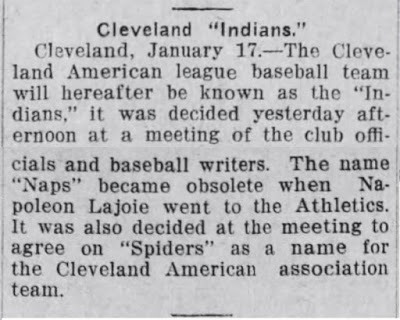 Altoona Tribune January 19 1915 page 6 - Cleveland Indians new name - and spiders