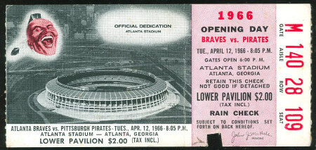 Atlanta Braves Ticket 1966