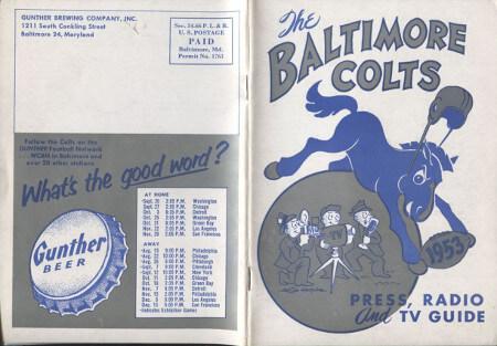 Baltimore Colts 1953 Press Guide