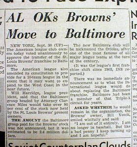 Browns to Baltimore 1953