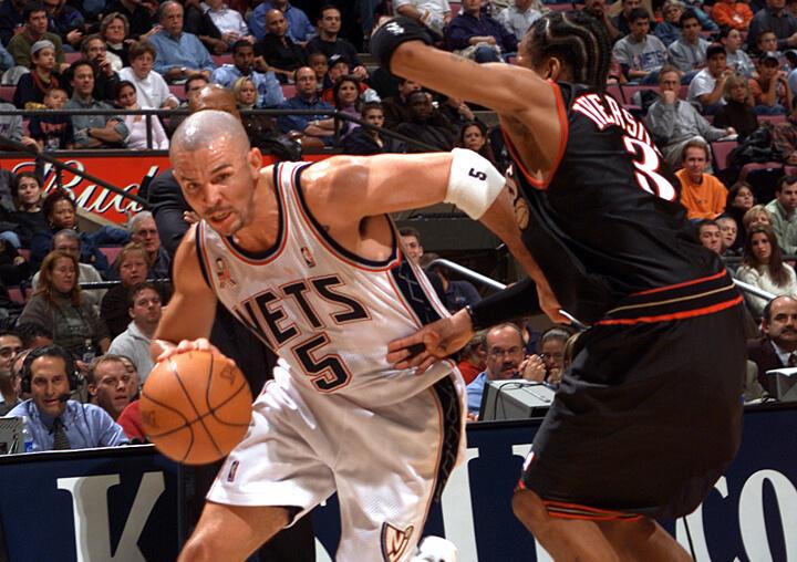 Jason Kidd drives against Allen Iverson