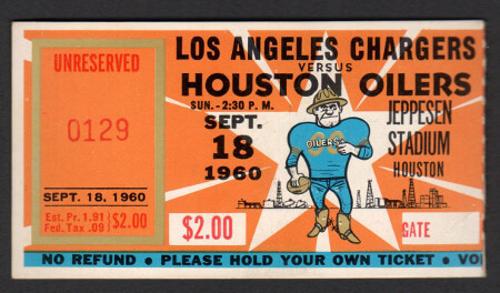 LA Charger vs Houston Oilers 1960