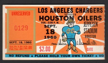 LA Charger vs Houston Oilers 1960