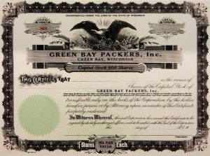 Stock Certificate Green Bay Packers