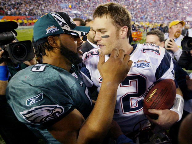 New England Patriots Brady and Philadelphia Eagles McNabb after game