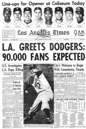 Brooklyn Dodgers to LA