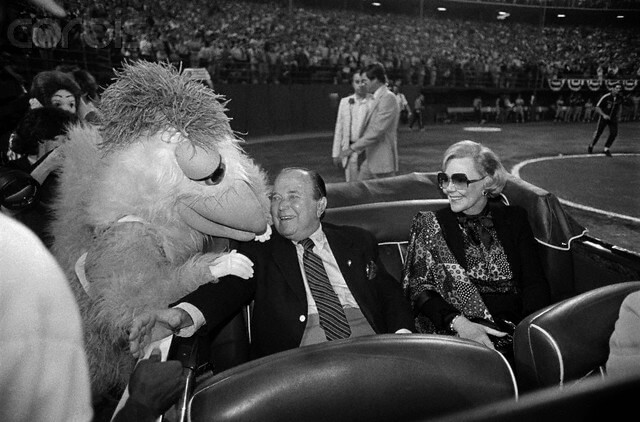 Ray and Joan Kroc Greeting San Diego Chicken