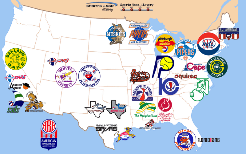 ABA and USFL Teams Map | Sports Team History