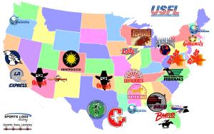 USFL Teams Map 300 x 200