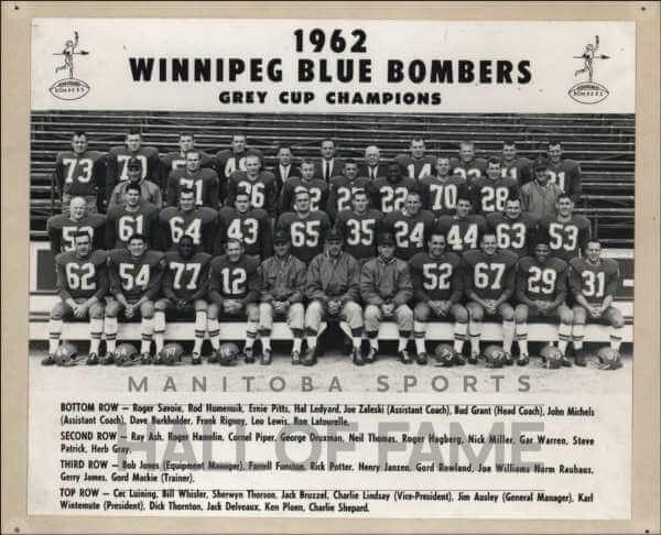 Winnipeg Blue Bombers 1962 Grey Cup
